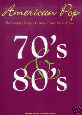 Rare Songs Of The 1970's + 1980's Piano And Vocal Song Book Hard To Find Songs