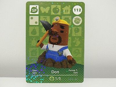 Amiibo Animal Crossing Card Don Don no. 112 Top