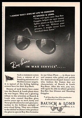 1944 WWII RAY-BAN Sun Glasses WWII Fighter Pilot Comment Bausch & Lomb AD