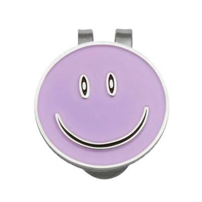 Alloy Smile Face Magnetic Golf Ball Marker Clip On Golf Cap Hat Gift Purple