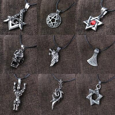 Unisex Viking Pendant Necklace Retro Lucky Talisman Amulet Jewelry Cord Chain