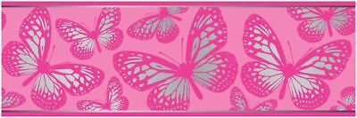 Butterfly 7 Inch Wallpaper Border 5M Long Pink Girls Bedroom