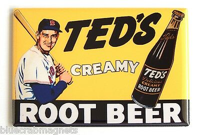 Ted's Creamy Root Beer FRIDGE MAGNET (2 x 3 inches) sign ted williams red sox