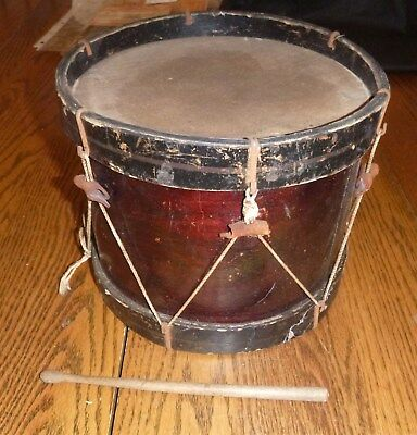 "Vintage - Antique - Childs Wooden Drum ~ with 1 stick ~ 9.25"" wide 7.5"" tall"