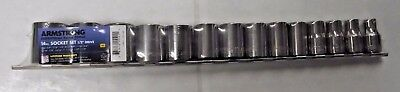 "Armstrong 15-521A 14 Piece 1/2"" Drive 12 Point SAE Socket Set USA"