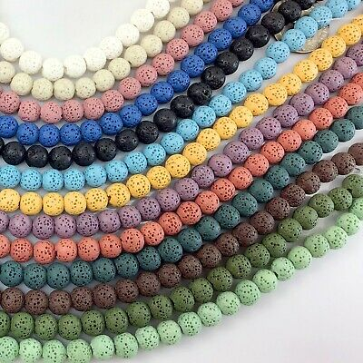 "Wholesale 6mm 8mm 10mm Natural Lava Rock Round Spacer Loose Beads 15"" Free Ship"
