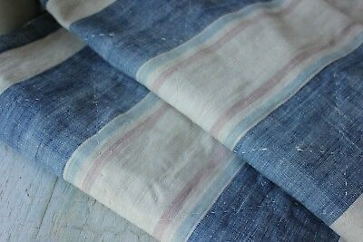 18th 1770 French quilted textile fabric striped LINEN indigo blue stripes old