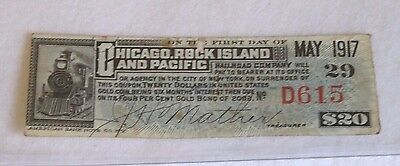 Chicago Rock Island and Pacific Railroad Obsolete Currency, 1917, $20