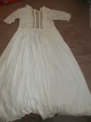 Lovely Old Vintage Baby Christening Baptism Gown Robe Long Cotton Lace Bargain