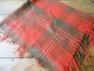 Antique Rustic Primitive Old Red Brown Homespun Plaid Wool Fabric ~ Darn Mend