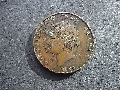 GB 1826 George IV Halfpenny coin (Saltire two incuse lines)