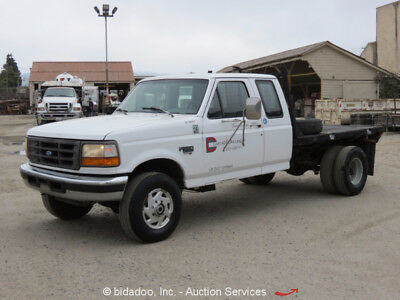 Ford F250 4x4 Extended Cab Flatbed Pickup Truck 7.3L Diesel PTO Manual 5 Speed