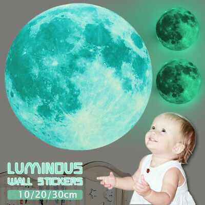 30cm Luminous Glow in the Dark Moon Wall Sticker Home Art Decor Kids Room Decal
