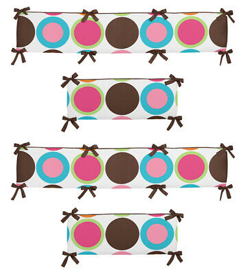 Colorful Polka Dot And Brown Baby Affordable And Girl 4 Piece Crib Bumper Pad