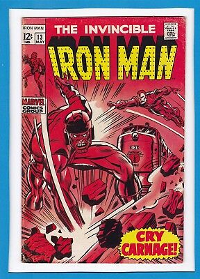 """Invincible Iron Man #13_May 1969_Fine+_Controller_""""cry Carnage""""_Silver Age!"""