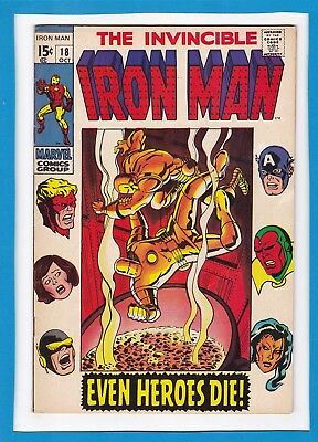 """Invincible Iron Man #18_October 1969_F/vf_Avengers_""""even Heroes Die""""_Silver Age!"""