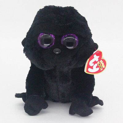 "6"" Ty Beanie Boos George Black Gorilla Reg Stuffed Animal Plush Toys Gifts  A1"