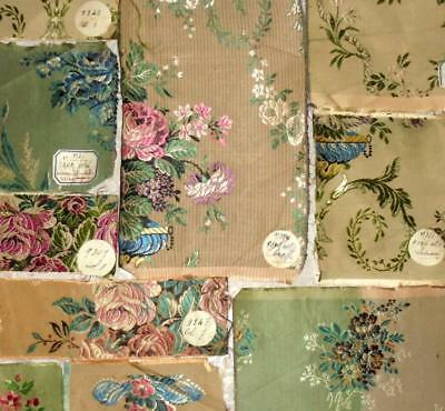 10 BEAUTIFUL ANTIQUE FRENCH SILKY SAMPLES, ORIGINAL LABELS c1930, REF PROJECTS