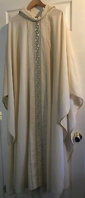 Stunning Rare Catholic Priests Ivory/sterling Silver Chasuble House Of Hansen