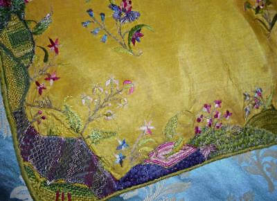 EXQUISITE, RARE LONG PIECE 18th CENTURY SILK & METAL THREAD EMBROIDERY c1750