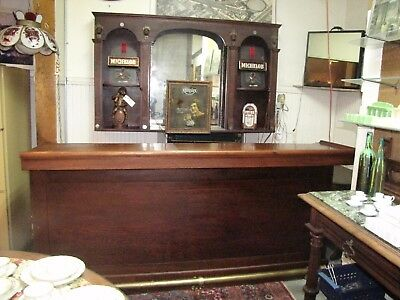Antique 8' Front Bar & Back Bar top with Arts & Crafts Monk's Heads (inv# 3921A)