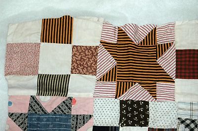 Early Madder Star Quilt Top Piece Shirting Calico Repurpose
