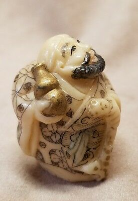 Bearded Asian Man With Cane & Bottle Netsuke From Estate
