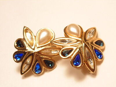 Large clip on earrings with bright jewels
