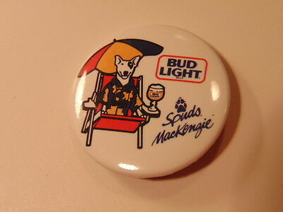 Older advertising pin: Bud Light beer- and spokes dog Spuds MacKenzie