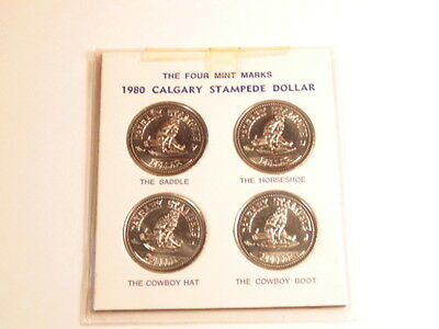 Collection of 4 1980 Calgary Stampede Dollars with 4 mint marks