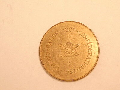 old 1967 Canada Confederation brass colored medal (1867-1967)