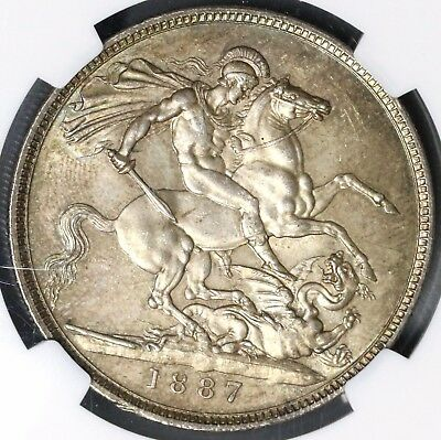 1887 NGC MS 63 Sliver Crown Victoria Flashy GREAT BRITAIN Coin (16012501D)