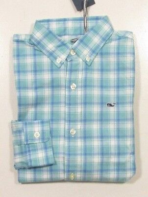 Vineyard Vines Boys L/S Point Plaid Poplin Aqua Ocean Whale Shirt