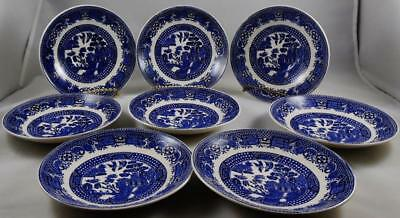 "8 Vintage Blue Willow Swinnertons Staffordshire England ""Old Willow"" Saucers"