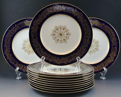 C1910 Coalport Golden Wedding Cobalt Set of 12 Dinner Plates for C. Reizenstein