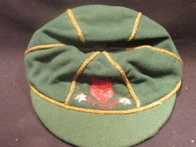Boy Scouts Vintage Green Cap with 2 Gold Stars & Red Wolf