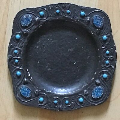 "Arts and Crafts Type Metal Saucer with Blue Stones Inlaid, About 6"" Across."