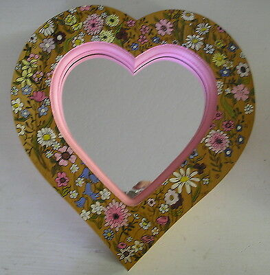 Vintage Hand painted wooden FLORAL HEART MIRROR pink