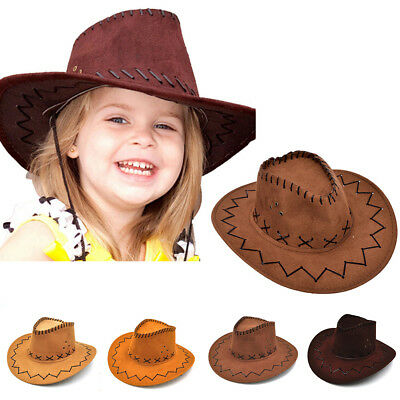 Kid Boys Girls Western Cowboy Hat Wide Brim Artificial Suede Party Costumes Hat