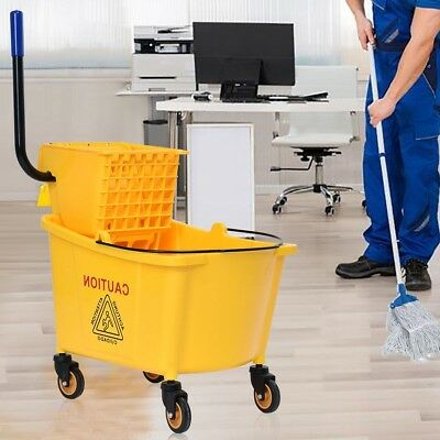 Home Office 31 Quart Side Mop Bucket Press Broom Wringer Yellow Brooms Cleaning
