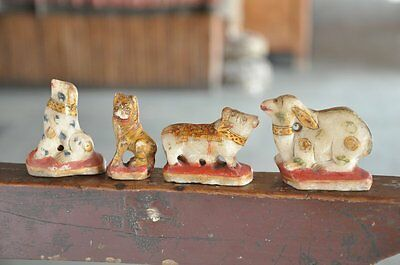 4 Pc Old White Marble Different Handcrafted Painted Animals Figurine