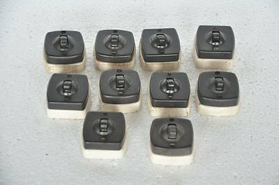 10 Pc Vintage Ceramic & Bakelite Trishul Trademark Electric Switches , England
