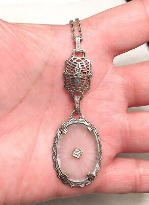 Awesome Filigree Art Deco Sterling Silver Heavy Ornate Lg. Camphor Glass Pendant