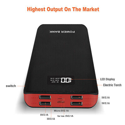 External 4USB 50000mAh LCD Power Bank LED Backup Battery Charger For Cell Phone