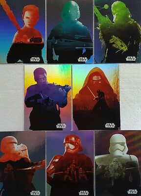 JOURNEY to Star Wars FORCE AWAKENS  Character FOIL Silhouette Card set 8  F1 - 8