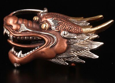 Copper Hand Carving Gilt Gold Dimensional Dragon Statue Belt Buckle Accessories