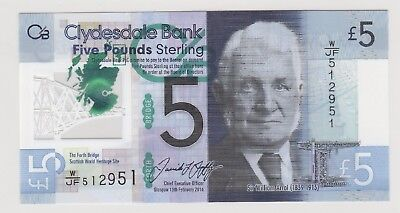 2016 £5 Five Pounds Clydesdale Bank Scotland Note Uncirculated 951