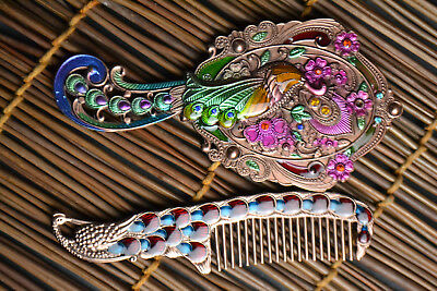 Beauty Antique Peking Cloisonne phoenix Colored carved  comb mirror Statue nice