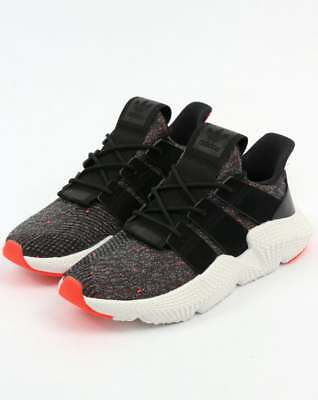 Adidas Prophere Trainers in Black & Solar Red - knitted upper streetwear SALE