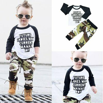 Toddler Kids Baby Boy Girl Clothes T-shirt Tops+Camouflage Pants Outfit 2pcs Set
